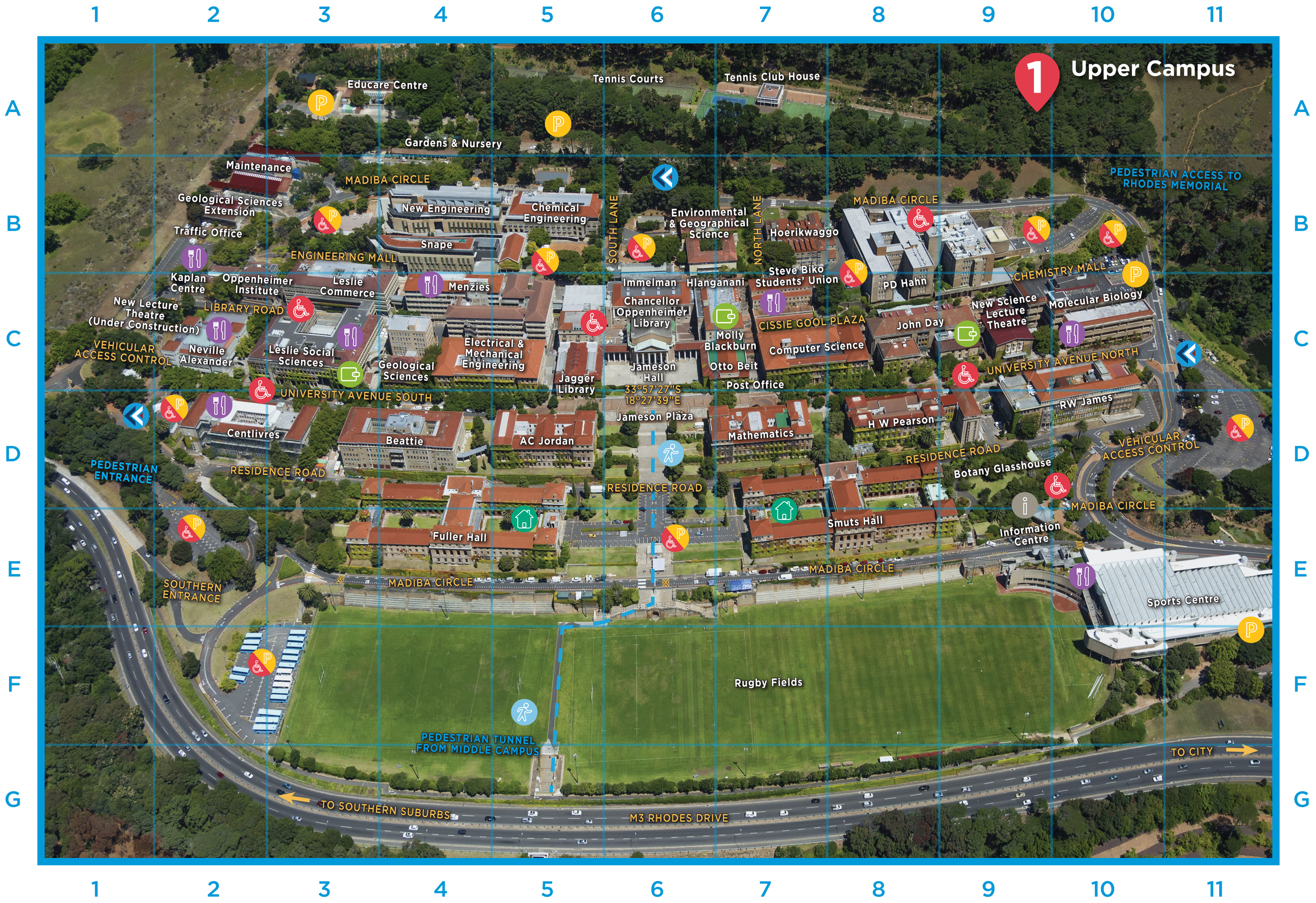 Campus Maps University Of Cape Town - Us open tennis parking map