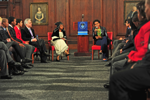 Self belief: US First Lady Michelle Obama (right) speaks to learners in Fuller Hall at UCT. On her left are vice-chancellor Dr Max Price and former VC Dr Mamphela Ramphele.